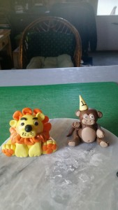 Lion and Monkey hand made with gum paste
