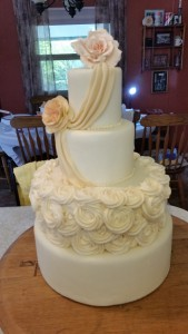Four tier wedding cake for display